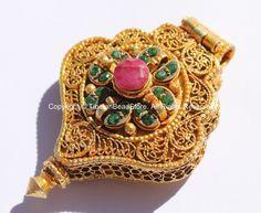 24 karat gold plated tibetan buddha ghau prayer box pendant with 24 karat gold plated tibetan buddha ghau prayer box pendant with ruby emerald inlays gold buddha ghau tibetan jewelry wm5516 pinterest tibetan aloadofball Gallery