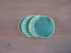green repurposed textile coasters - colorfull striped green coasters - round fabric coasters - set of 5x - hostess gift - new home gift
