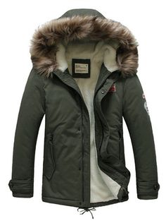 Mens Hooded Parka Warm Fur Collar Winter Thick Down Coat Outwear Boutique Jacket (Medium, Amry Green) Best Mens Winter Jackets, Mens Winter Coat, Winter Coats, Mens Parka Jacket, Parka Jackets, Parka Coat, Wool Coat, Leather Jacket With Hood, Outfits