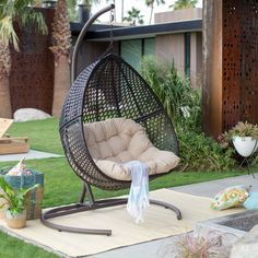 Shop the latest collection of Resin Wicker Hanging Egg Loveseat Swing Chair, Indoor Outdoor Patio Backyard Furniture Cushion Stand, Espresso from the most popular stores - all in one place. Backyard Furniture, Wicker Furniture, Backyard Patio, Furniture Ideas, Desert Backyard, Sloped Backyard, Furniture Layout, Furniture Design, Furniture Stores