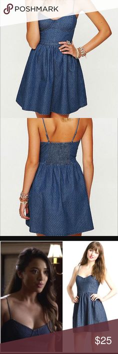 Free People Denim Polka Dot Dress Super cute and girly! Denim with small white polka dots. Bustier top, spaghetti straps and side zipper. Free People Dresses