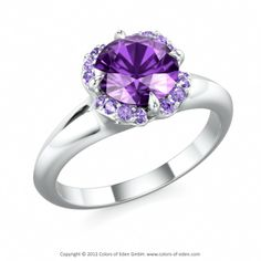 MORNING STAR | Solitaire Ring with Amethyst and Swarovski Brilliance Amethyst Cubic Zirconia in Platinum