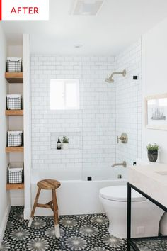 White Bathroom Ideas - Prior to you begin enhancing an all-white bathroom, there are a couple of things you require to understand. An experienced shares her essential white bathroom . Bathroom Elegant White Bathroom Ideas to Inspire Your Home Mold In Bathroom, Upstairs Bathrooms, Bathroom Renos, Basement Bathroom, Bathroom Tub Shower, Shower Over Bath, Remodel Bathroom, Bathroom Shelves, Bathroom Bin