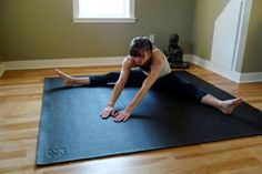 Big Yoga Mats allow for full movement without feeling confined to a smaller space. While smaller mats maximize space in the studio, they don't always allow you to maximize your workout. The one pictured is Square36 - The Oversize Yoga Mat, which I like a LOT. It's thick, 36 square feet (fits in most living rooms), durable and made of non-toxic materials.