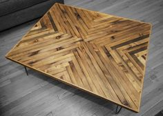 Cool Stylish Lacquer Herringbone Timber Top Coffee Table Design With Black Iron Hairpin Legs On Hardwood Floor As Well As Cherry Coffee Table And Coffee Table Sets Cool Stylish Living Room Coffee Table Designs Diy Table Top, Diy Dining Table, Table Top Design, Coffee Table Design, Table Designs, Coffee Tables, Timber Table, Wood Table, Tabletop