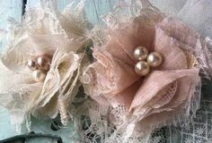 Shabby Chic Linen Fabric Flowers with Ivory Lace and Bridal Tulle by RhysandRaesCreations http://etsy.me/WcXJOo via @Etsy