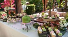 pink and sage wedding dessert table by Mili's Sweets.