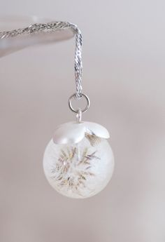 Ball pendant with dandelion. Made of epoxy resin jewelry with dandelion. on Etsy, $29.00