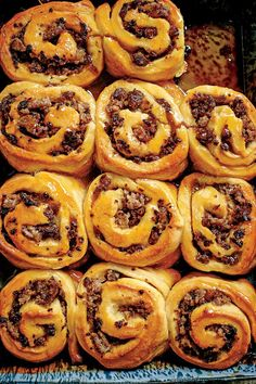 Sausage-Stuffed Honey Buns - Make-Ahead Breakfast Ideas For Your Best Morning Ever - Southernliving. Recipe: Sausage-Stuffed Honey Buns Everyone's favorite breakfast treat gets a savory update with our Sausage-Stuffed Honey Buns. Make Ahead Breakfast, Breakfast Recipes, Breakfast Ideas, Brunch Recipes, Breakfast Menu, Morning Breakfast, Breakfast Casserole, Cocktail Sausage Recipes, Dinner Recipes