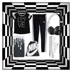 """""""Monochrome Excersize"""" by moonstar843 on Polyvore featuring Disney, Madewell, Converse, Beats by Dr. Dre and NIKE"""
