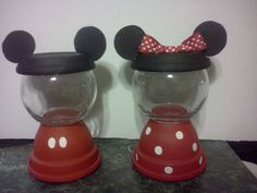 Classic Mickey and Minnie Mouse gumball ma hime party favor Clay Pot Projects, Clay Pot Crafts, Jar Crafts, Mickey Party, Mickey Minnie Mouse, Mickey Mouse Birthday, Minnie Mouse Party, Mouse Crafts, Painted Clay Pots