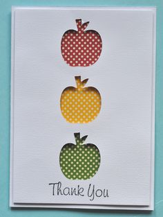 Teacher Thank you card  - love the apple cut outs with different paper showing through! - [Scrapbook.com]