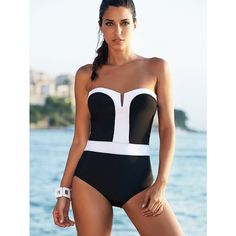 Alluring Strapless Color Block One Piece Swimsuit For Women ($19) ❤ liked on Polyvore featuring swimwear, one-piece swimsuits, strapless swimwear, color block swimsuit, colorblock swimwear, strapless swimsuits and colorblock one piece bathing suit