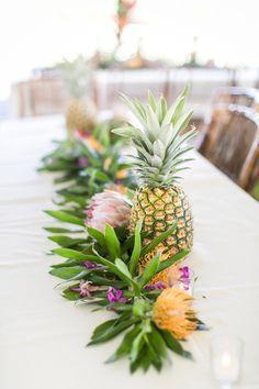 Hawaiian Theme  Photography : Heather Cook Elliott Photography Read More on SMP: http://www.stylemepretty.com/destination-weddings/2015/08/26/tropical-colorful-wedding-in-kauai-botanical-garden/