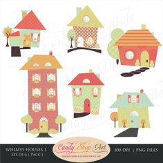Instant Download - Whimsical Houses Clipart, Houses Clip Art, Fun House…