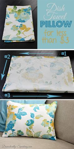Dish Towel DIY Pillow @ Domestically-Speaking.com