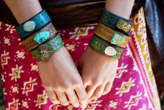 Custom LUX Recycled Leather Gemstone Cuff by luxdivine on Etsy, $100.00