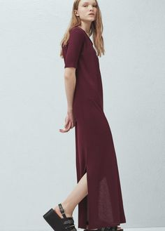 Vestido comprido aberturas | MANGO