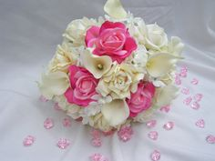 Shannon's Silk Bridal Bouquet with Pink by ArtisticFloralDesign
