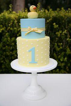 first birthday cake, or baby shower idea?light blue and light yellow first birthday cake, rubber ducky