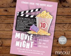 Girls Movie Night Birthday Party Invitation INSTANT by wowwowmeow