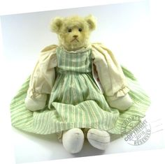 Hand Made in the USA ~ One-of-a-Kind ~ OOAK. About: A lovely unique bear made curly long pile German mohair, of the palest buttery yellow color. She is a Bethy, a floppy rag doll bear. She is all to huggable. Bear Art, Teddybear, Fun Gifts, Roosevelt, Blessings, Your Favorite, Baby Dolls, Bears, Shabby Chic