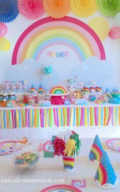 """The Sweet Birthday Deco Table """"Rainbow"""": Photos- La Sweet Table Déco d'anniversaire """"Arc-en-Ciel"""": Les photos The Sweet Birthday Deco Table """"Rainbow"""": The photos! Rainbow Party Decorations, 40th Birthday Decorations, First Birthday Party Themes, Trolls Birthday Party, Rainbow Birthday Party, Birthday Table, Girl First Birthday, 4th Birthday Parties, Rainbow Parties"""