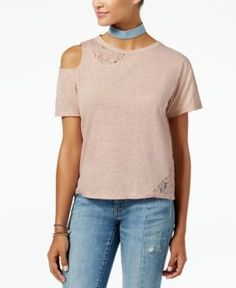 American Rag Juniors' Lace-Inset Cold-Shoulder Top, Created for Macy's - Pink XXS