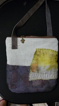 linen, silk, leather small bag. Cherie Livni