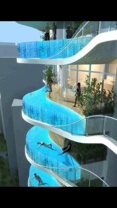 Quiero quedarse en el hotel que tenga las píscinas en los bálcones de cada dormitorio.