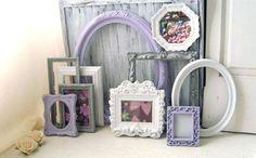 Lavender and Gray Vintage Frames Light by WillowsEndCottage Nursery Frames, Painted Picture Frames, Girl Bedroom Walls, Empty Frames, Frame Light, 10 Frame, Shabby Chic Cottage, Vintage Frames, Lavender