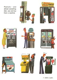 "Vintage Illustrations Miroslav Sasek Page from 'This is New York' by Miroslav Sasek. New York"", from the series of children's books written Illustrations Vintage, Children's Book Illustration, Illustrations Posters, People Illustrations, Modern Graphic Design, Retro Design, 3d Character, Character Design, Film D'animation"
