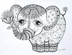 Photos coloriage elephant mandala