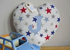 handmade personalised nursery heart cushion by cotton fairies | notonthehighstreet.com