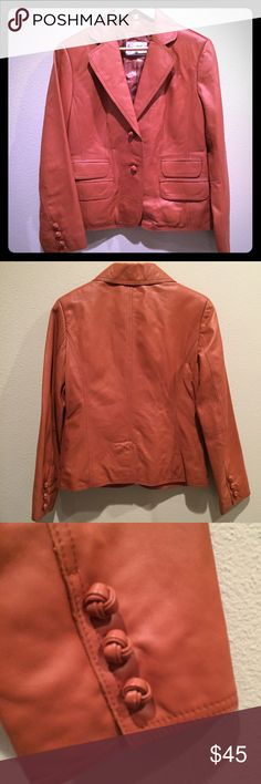 Pamela McCoy Leather Blazer Jacket NWOT, never worn, fully lined leather blazer style jacket by Pamela McCoy. This women's size small is stylish for spring! Pamela McCoy Jackets & Coats Blazers