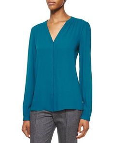 Michael Kors Collection Split-Neck Long-Sleeve Blouse, Peacock New offer @@@ Price :$795 Price Sale $681.5