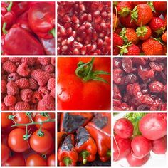 RED foods for the ROOT of our being, helping us ground to our physical body and the earth: Red apples, beets, red cabbage, cherries, cranberries, pink grapefruit, red grapes, red peppers, pomegranates, red potatoes, radishes, raspberries, rhubarb, strawberries, tomatoes, watermelon.