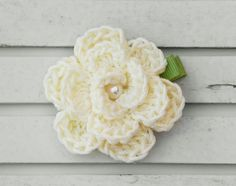Crochet Flower Hair Clip with Pearl
