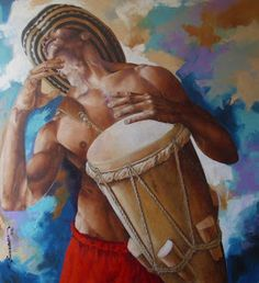 Alex Stevenson Diaz here and here Alex Stevenson is an artist with appreciation of the human, which communicates through expressi. Arte Jazz, Jazz Art, Colombian Art, Shango Orisha, Haitian Art, Acrylic Painting Lessons, Painting Art, Paintings, Le Tarot
