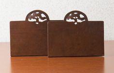 Dirk van Erp Hammered Copper Oak-Tree Cutout Bookends. Signed. Excellent original patina. 4.75″h x 5 5/8″w