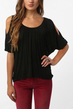 Daydreamer LA Solid Cold Shoulder Oversized Tee
