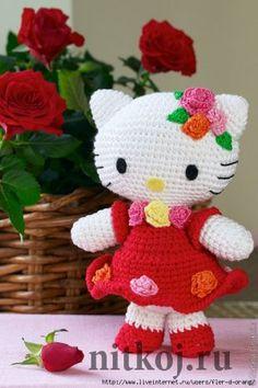 Кошечка Hello Kitty в нарядном платье крючком
