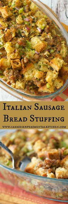 Homemade Italian Sausage Bread Stuffing made with day old Ciabatta bread, sweet Italian sausage, onions, celery and fresh herbs is perfect for a weeknight side dish or your Thanksgiving table.