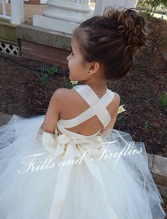 Ivory Lace Halter Flower Girl Dress with Peplum and CrissCross Satin Ribbon Straps in the back by Frills and Fireflies, $125.00