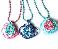 Rainbow Loom Creations - Daisy Necklace with crystal bling touch in Colors of your choice,Unique Gift  for girls