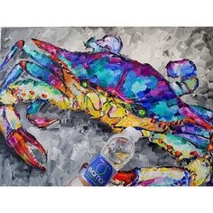 Even Crabby knows the health benefits of Crab Painting, Crabs, Rug Hooking, Yard Art, Louisiana, Health Benefits, Oil On Canvas, Seafood, Texture
