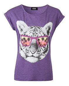 G21 Tiger and Sunglasses Print T-shirt