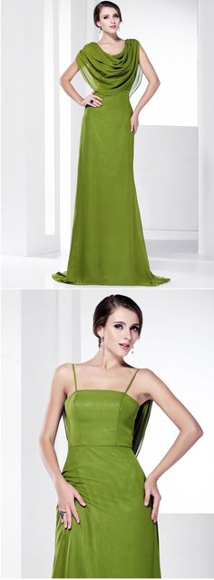 Gorgeous and sophisticated green brush train dress, it's great you can change the neckline! Repin if you like it.