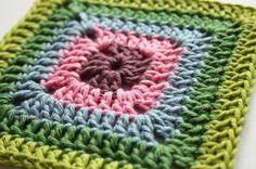 Solid Granny Square - free crochet pattern/tutorial by Sandra Paul at Cherry Heart.
