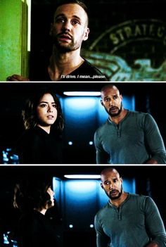"""Lance Hunter: I'll drive... I mean... Please...  #Marvel Agents of S.H.I.E.L.D. #AoS #AgentsofSHIELD 3x06 """"Among Us Hide..."""""""